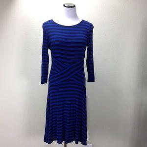 ECI Blue & Black Striped 3/4 Sleeve A-Line Dress